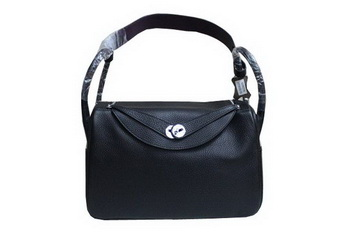 Hermes Lindy 34CM Shoulder Bag in Black Grainy Leather