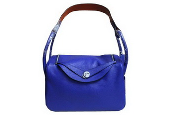 Hermes Lindy 34CM Shoulder Bag in Blue Grainy Leather