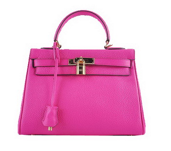 Hermes Kelly 28cm Shoulder Bags Peach Grainy Leather Gold