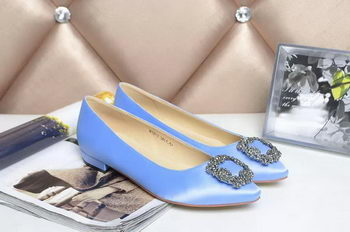Manolo Blahnik Ballerina Satin Canvas MB077 Light Blue