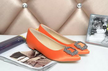 Manolo Blahnik Ballerina Satin Canvas MB077 Orange