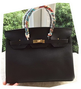 Hermes Birkin 35CM Tote Bag Black Litchi Leather BK35 Gold
