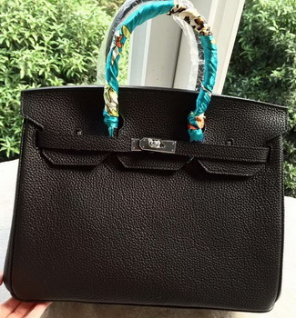 Hermes Birkin 35CM Tote Bag Black Litchi Leather BK35 Silver