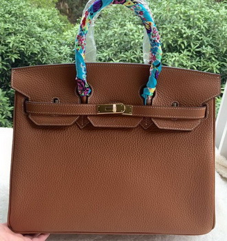 Hermes Birkin 35CM Tote Bag Brown Litchi Leather BK35 Gold
