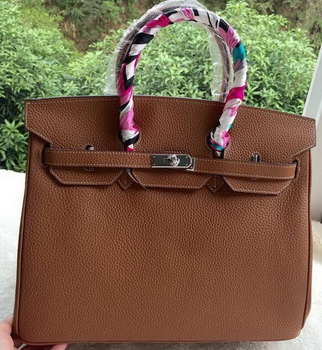 Hermes Birkin 35CM Tote Bag Brown Litchi Leather BK35 Silver