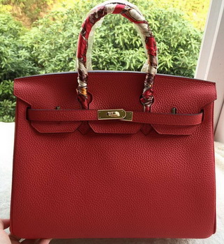 Hermes Birkin 35CM Tote Bag Red Litchi Leather BK35 Gold