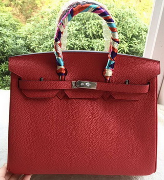 Hermes Birkin 35CM Tote Bag Red Litchi Leather BK35 Silver