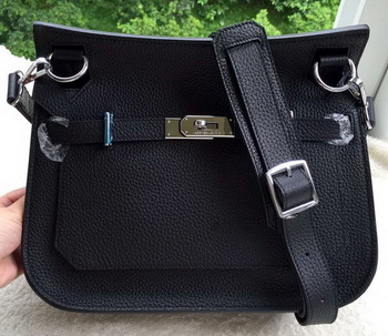 Hermes Jypsiere 31CM Shoulder Bag Calfskin Leather H0880 Black
