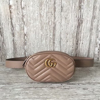 Gucci GG Marmont Leather Belt Bag 476434 Apricot
