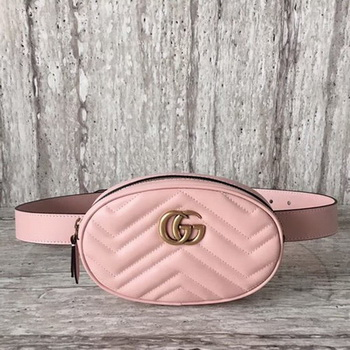 Gucci GG Marmont Leather Belt Bag 476434 Pink