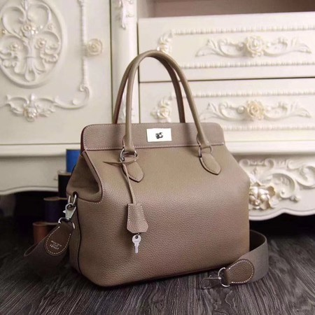 Hermes Toolbox Togo Bag Original Leather 3259 Light Grey