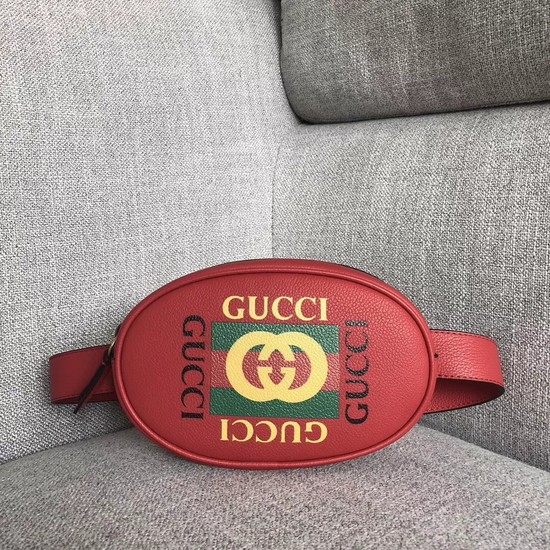 Gucci GG Calfskin Leather belt bag 476434 red