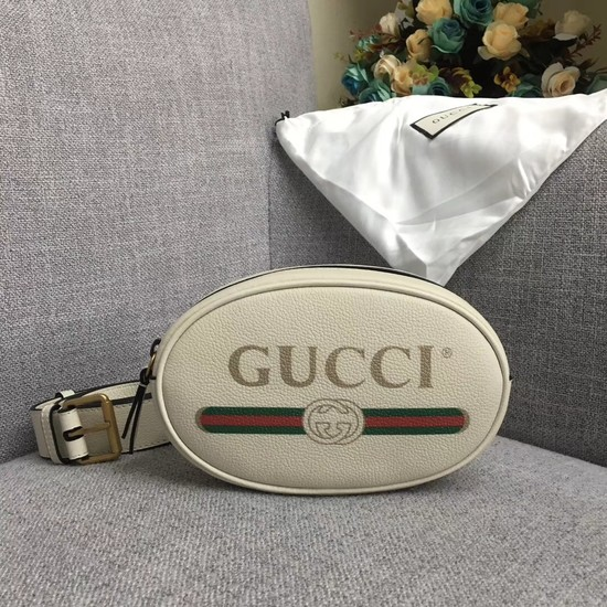 Gucci GG Calfskin Leather belt bag 476434 white