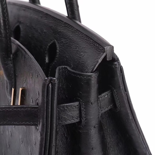 Hermes Real ostrich leather birkin bag BK35 black