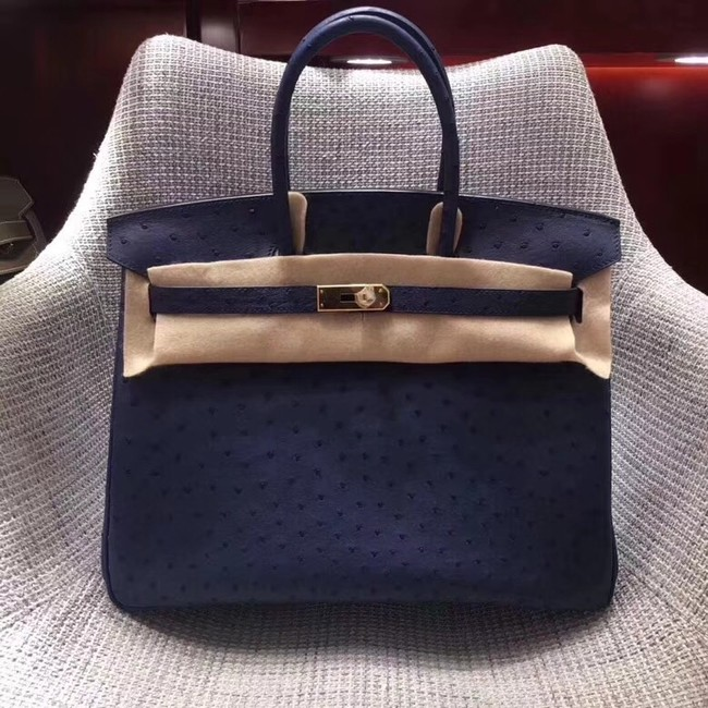Hermes Real ostrich leather birkin bag BK35 dark blue