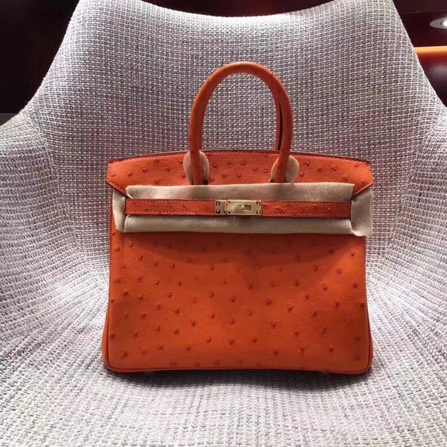 Hermes Real ostrich leather birkin bag BK35 orange