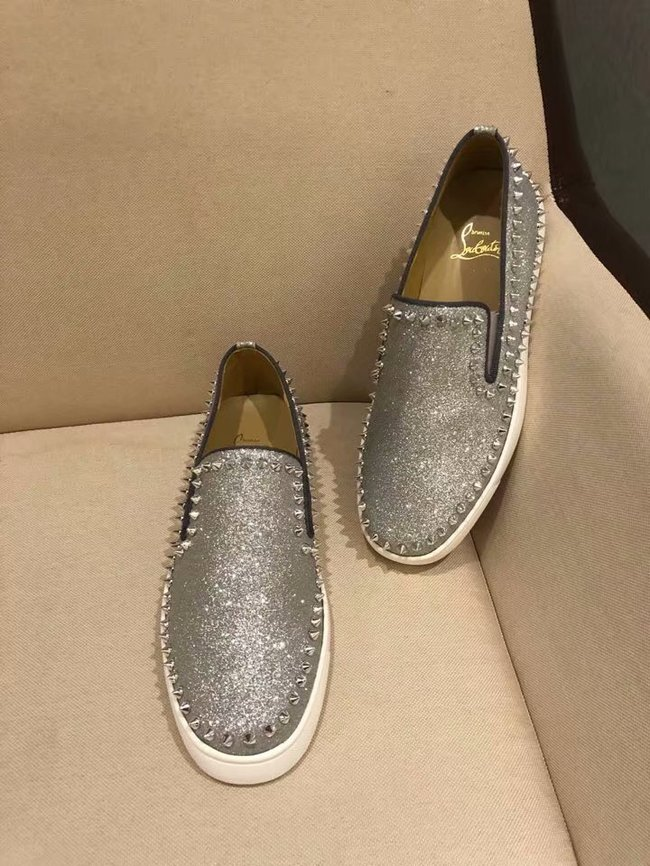 CHRISTIAN LOUBOUTIN Pik Boat glitter leather sneakers CL1025