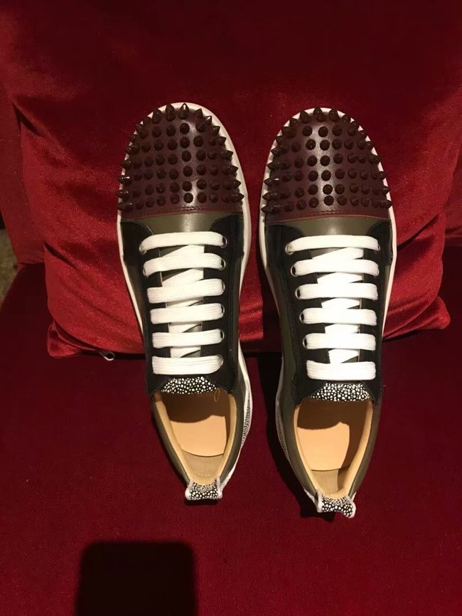 CHRISTIAN LOUBOUTIN Pik Boat glitter leather sneakers CL1049