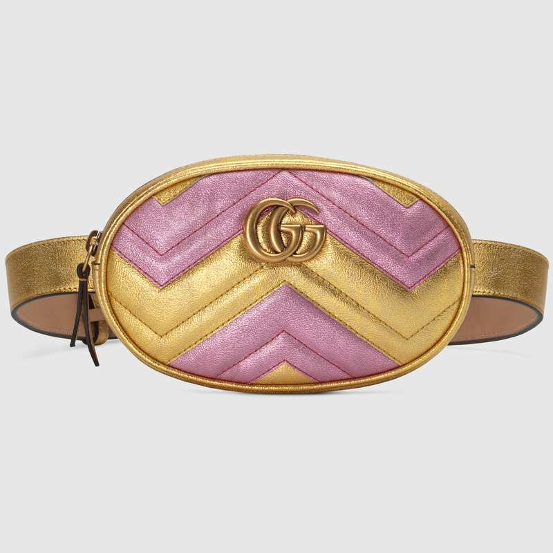 Gucci GG Marmont matelasse leather belt bag 476434 Pink&gold
