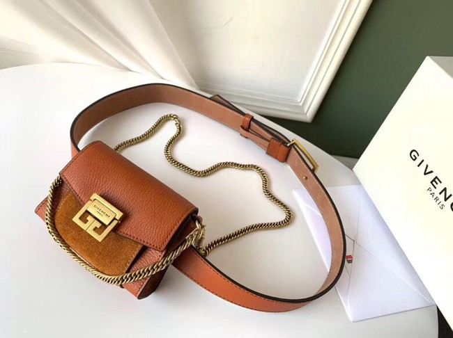 GIVENCHY GV3 leather and suede mini bumbag 1127 brown