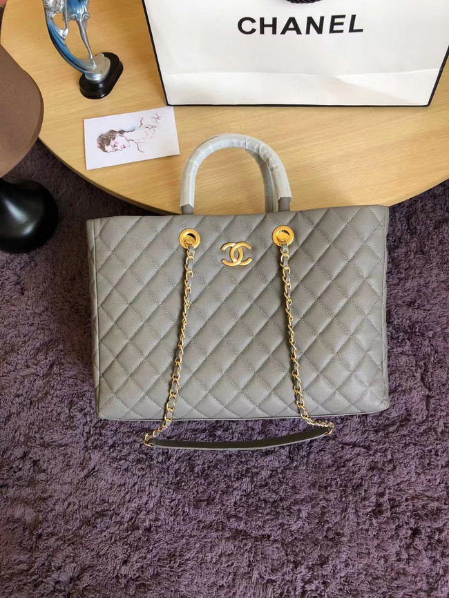 Chanel Original large shopping bag Grained Calfskin A93525 grey