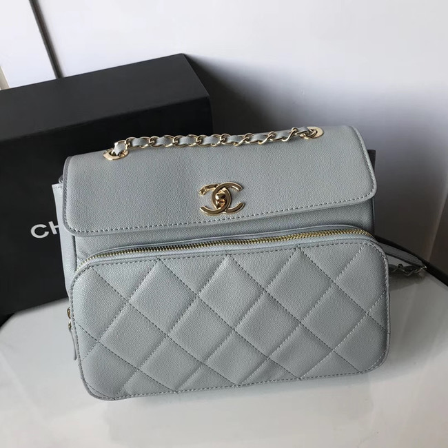 Chanel flap bag Grained Calfskin & Gold-Tone Metal AS1199 grey