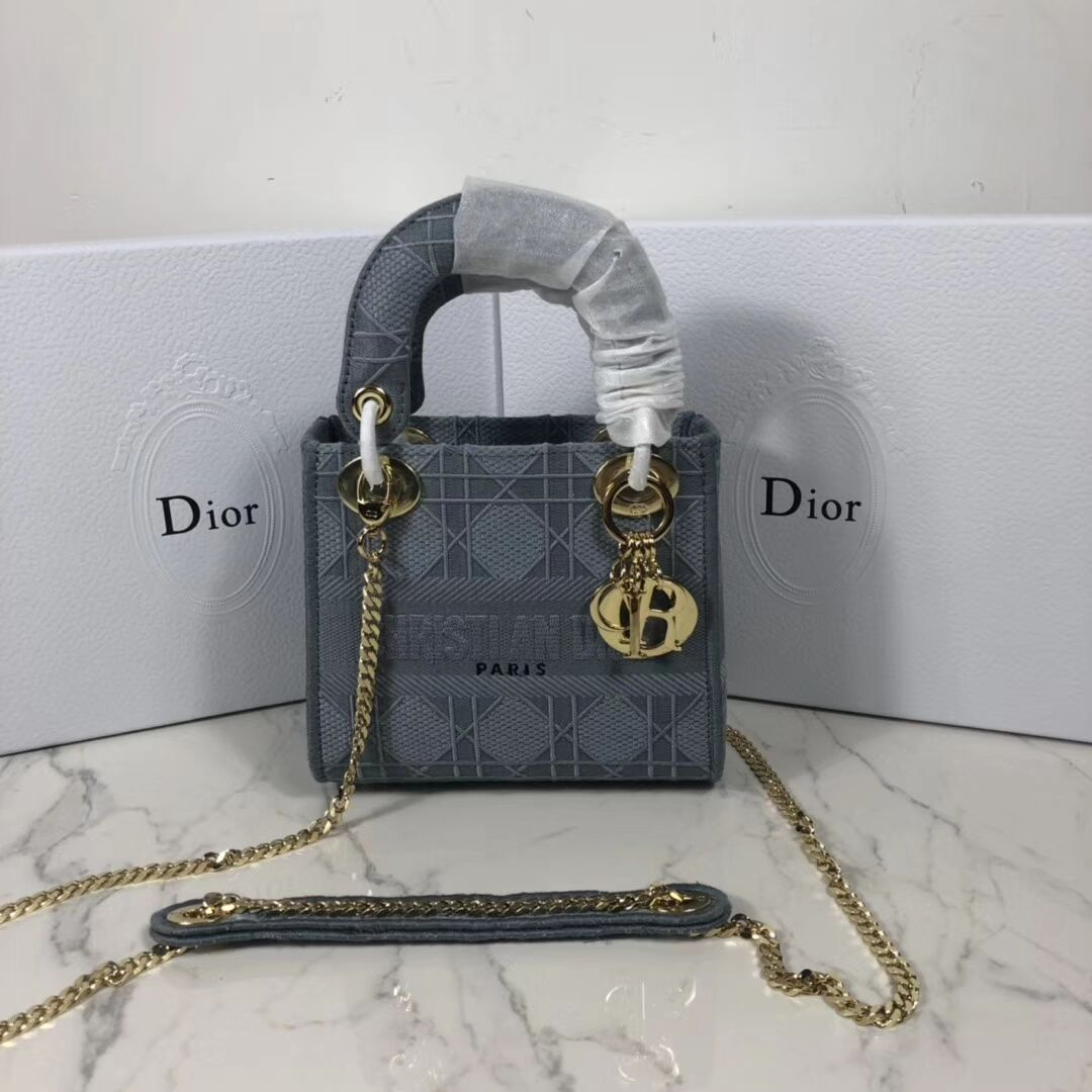 MINI LADY DIOR TOTE BAG IN EMBROIDERED CANVAS C4531 grey blue