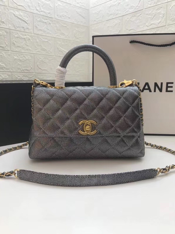 Chanel Small Flap Bag with Top Handle A92990 Silver grey