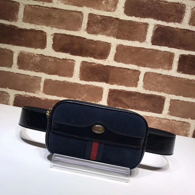 Gucci Nubuck leather belt bag 519308 Royal Blue&black