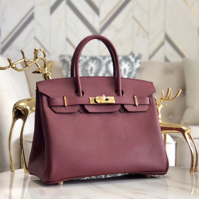 Hermes original Epsom Leather HB35O Burgundy&gold Metal