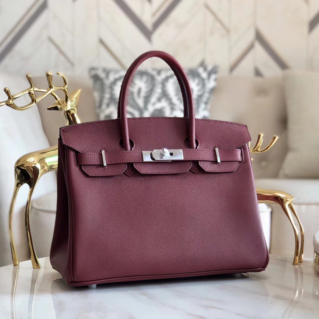 Hermes original Epsom Leather HB35O Burgundy&silver Metal