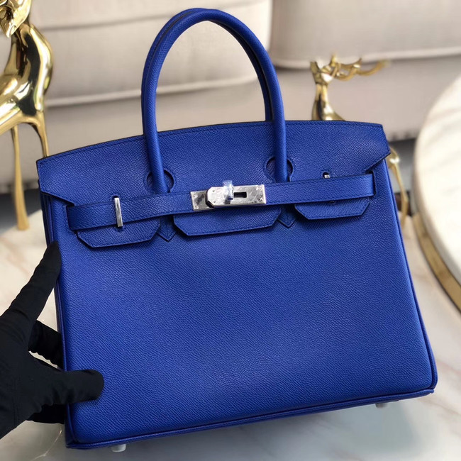 Hermes original Epsom Leather HB35O Electro optic blue&silver Metal