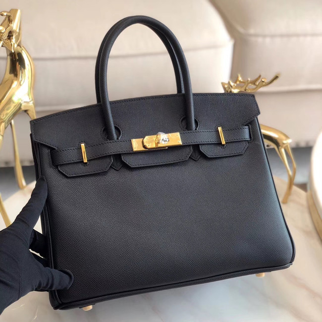 Hermes original Epsom Leather HB35O black&gold Metal