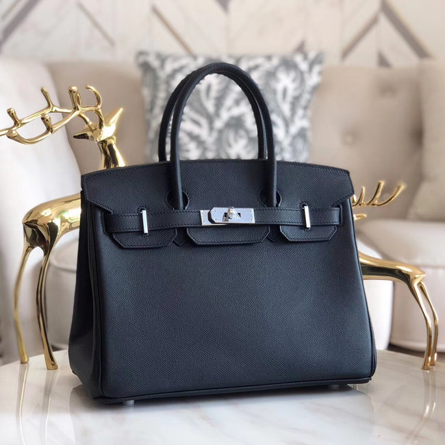 Hermes original Epsom Leather HB35O black&silver Metal