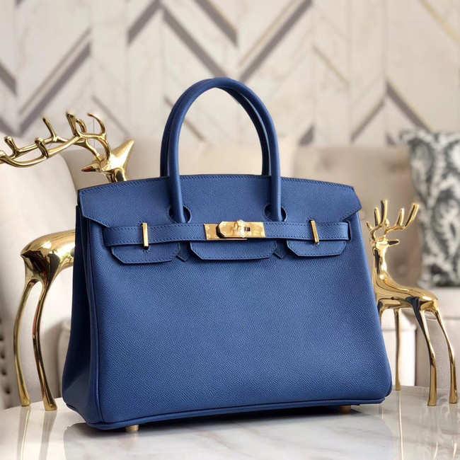 Hermes original Epsom Leather HB35O blue&gold Metal