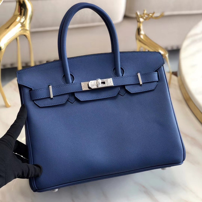 Hermes original Epsom Leather HB35O blue&silver Metal