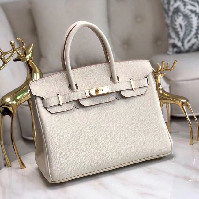 Hermes original Epsom Leather HB35O cream&gold Metal