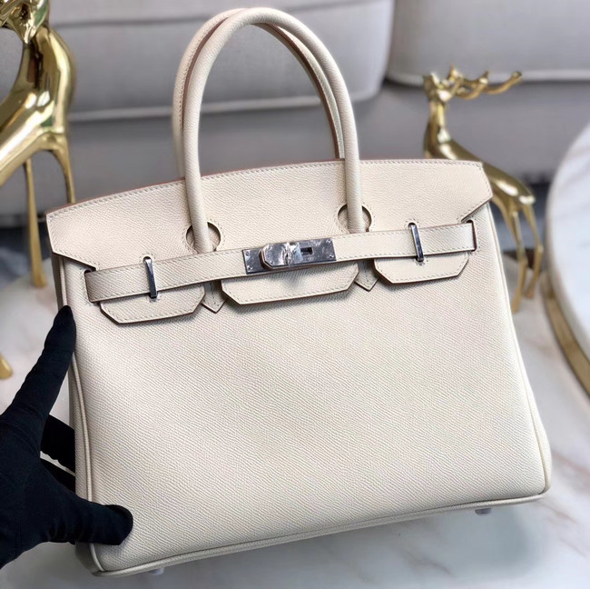 Hermes original Epsom Leather HB35O cream&silver Metal