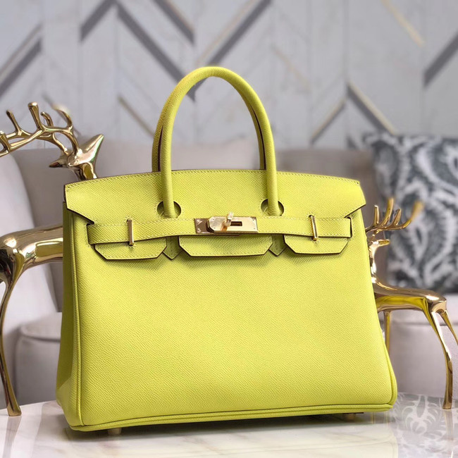 Hermes original Epsom Leather HB35O lemon&gold Metal