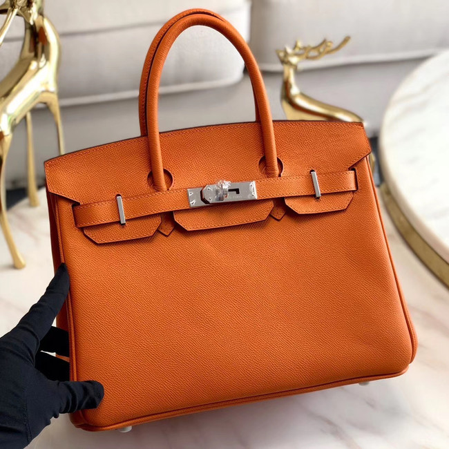 Hermes original Epsom Leather HB35O orange&silver Metal