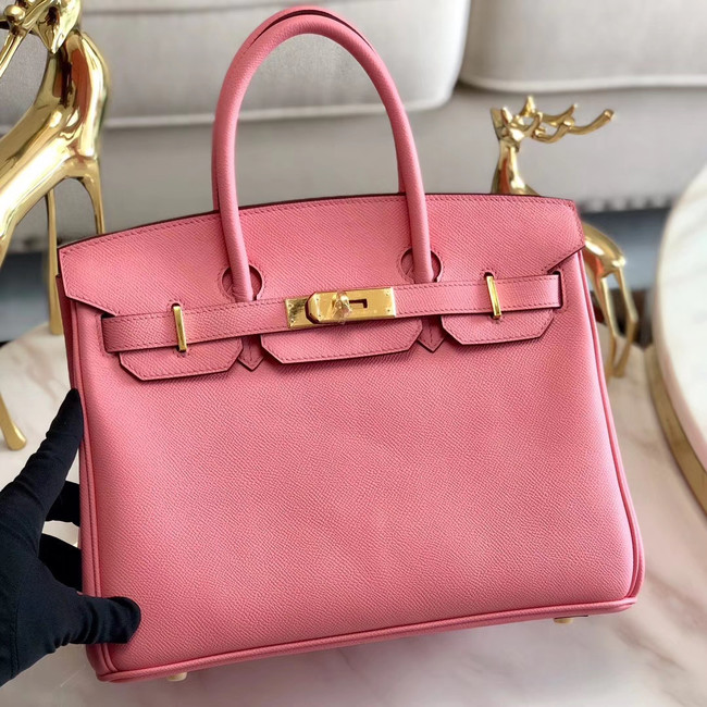Hermes original Epsom Leather HB35O pink&gold Metal