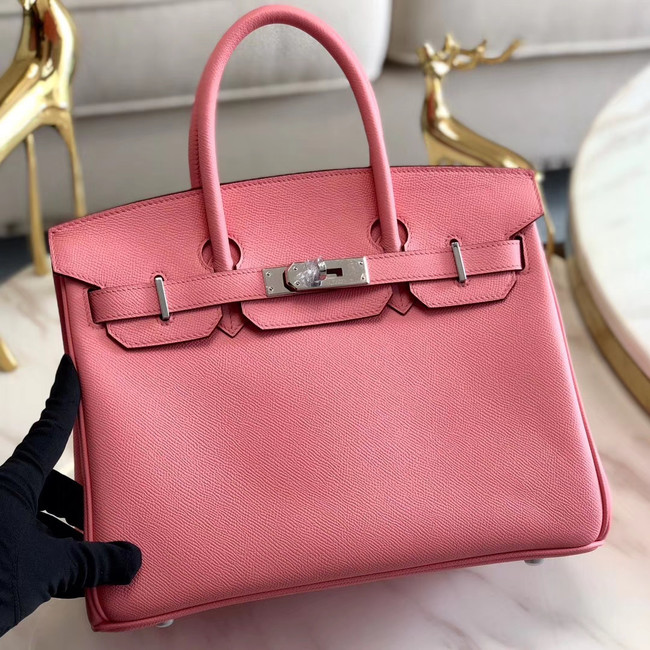 Hermes original Epsom Leather HB35O pink&silver Metal