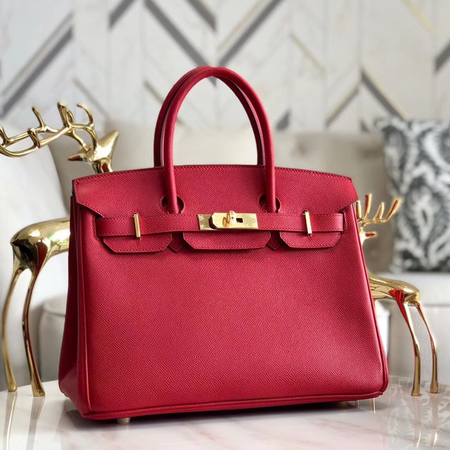 Hermes original Epsom Leather HB35O red&gold Metal