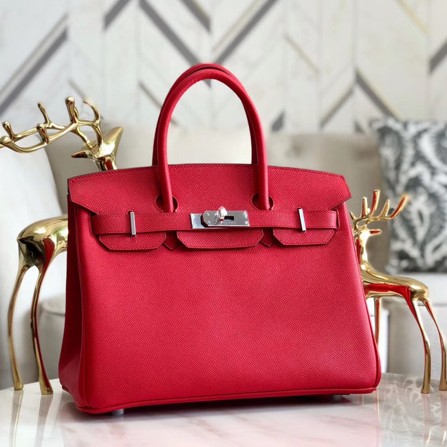Hermes original Epsom Leather HB35O red&silver Metal