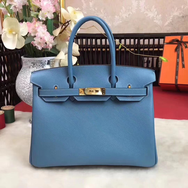 Hermes original Epsom Leather HB35O sky blue&gold Metal