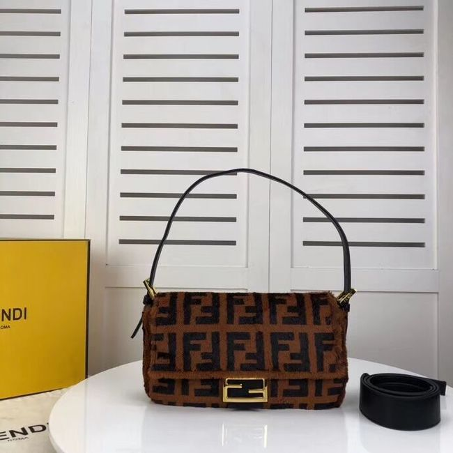 Fendi BAGUETTE Brown mink bag BR771A9 Brown