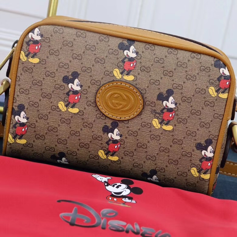 Gucci Disney x Mickey Mouse Small Shoulder Bag 602536 Brown