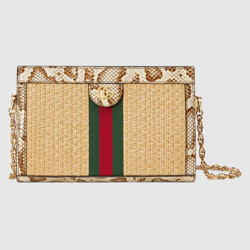 Gucci Ophidia straw small shoulder bag 503877 Cream