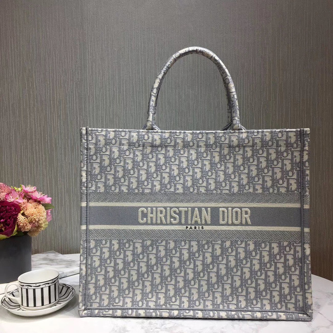DIOR BOOK TOTE EMBROIDERED CANVAS BAG M1287-9 grey