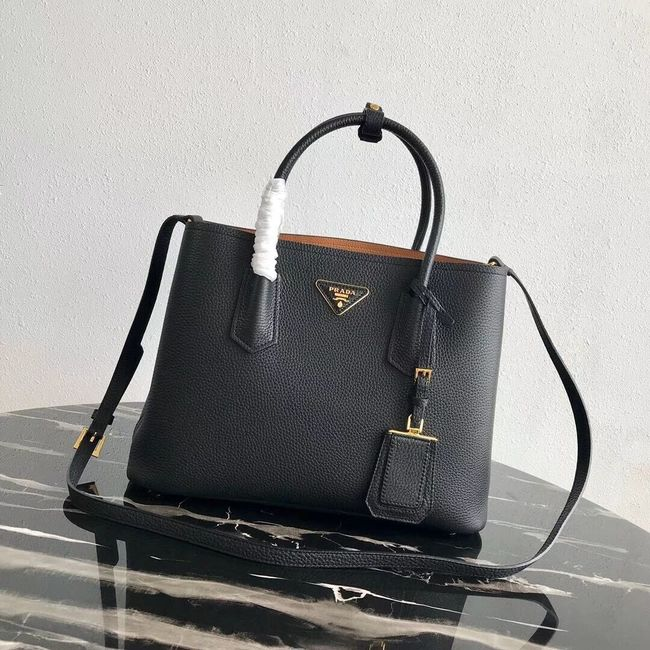 Prada Deer skin bag 1BG008 black&rbrown